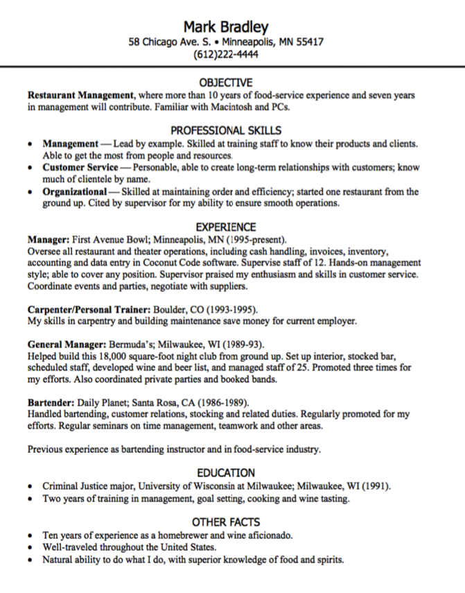 Restaurant Management Resume Sample Examples Resume Cv Education Resume Resume Cv Restaurant Management