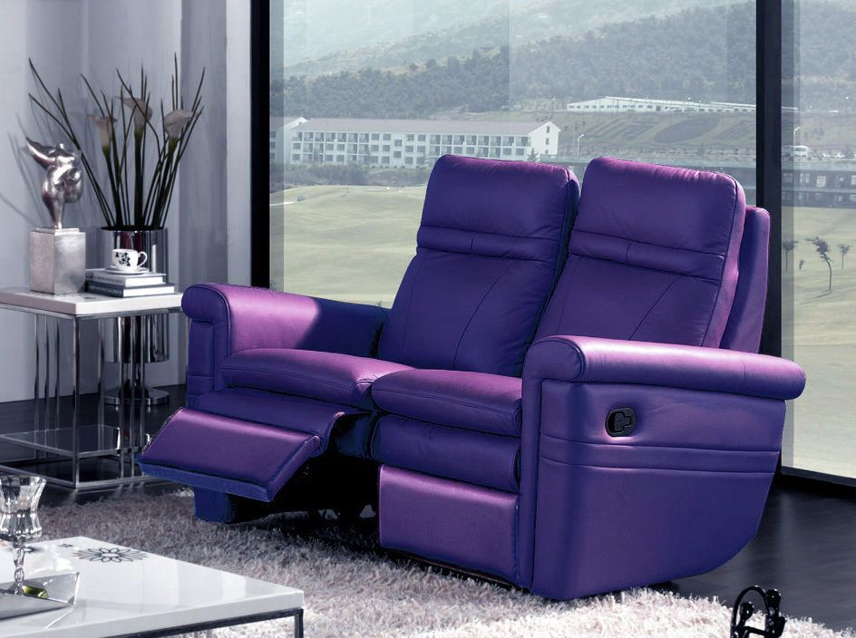 Miami 2 Seater Purple Leather Recliner Living Room Couch Sofa
