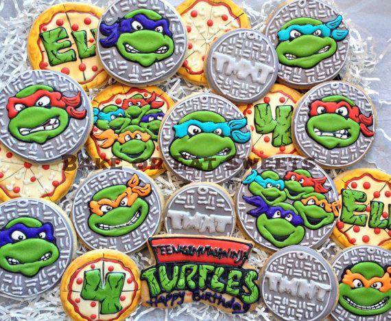Ninja Turtle Cookies By Bakeoreatsweets On Etsy 50 00 Ninja Turtle Cookies Ninja Turtle Cake Tmnt Cookies