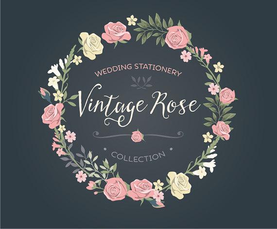 Vintage Wedding Invitation Floral Wreath Clipart Collection Etsy Vintage Rose Wedding Vintage Wedding Invitations Floral Wreath Wedding Invitation
