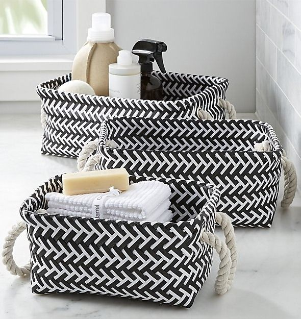 Black And White Storage Bins Offer A Stylish Space To Organize