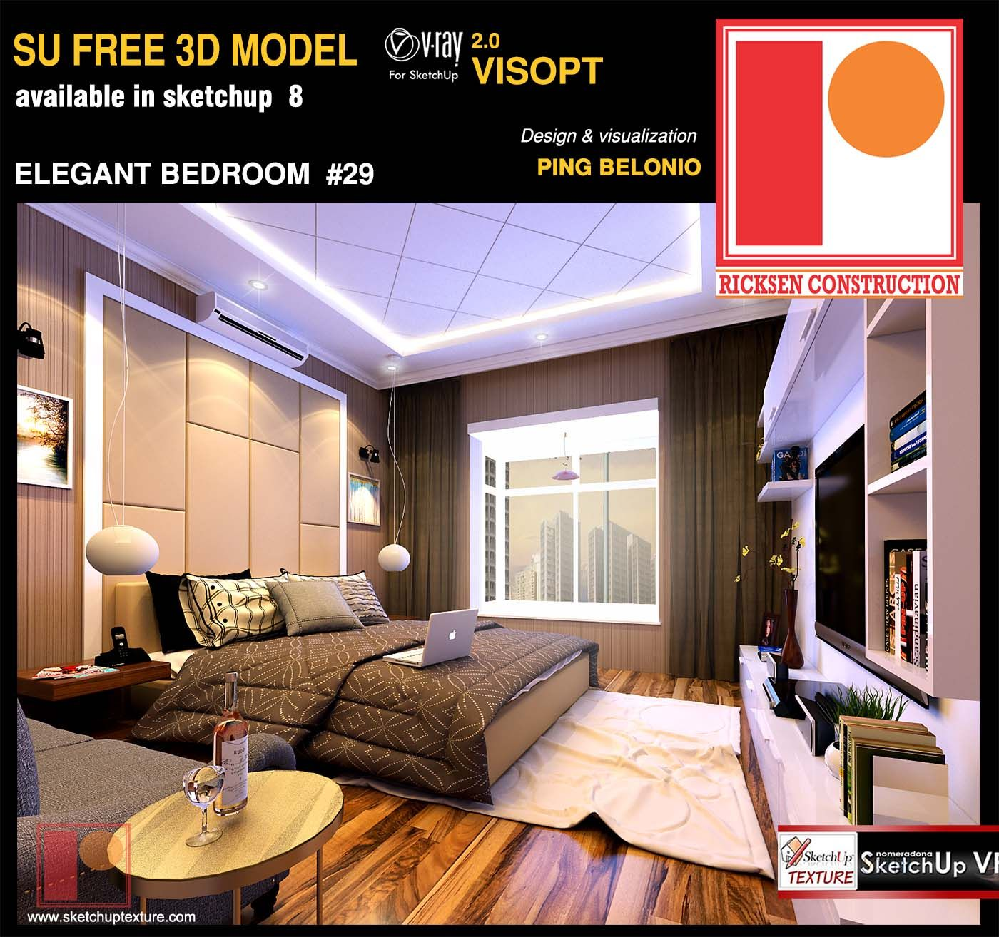 free Sketchup Model elegant Bedroom by Ping Belonio vray interior ...