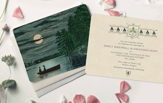 Destination Wedding Rustic Invitation Lake Invitations