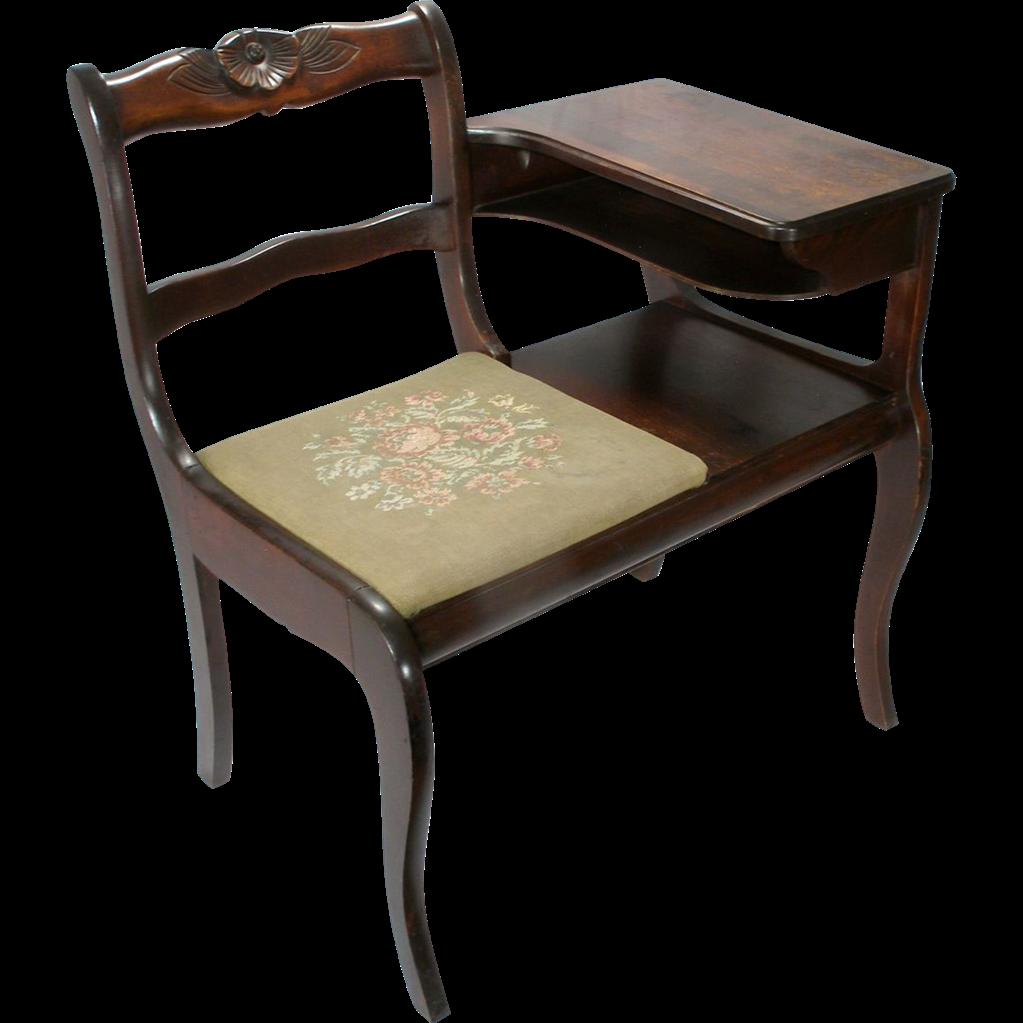 Vintage Frankson Mahogany Wood Telephone Phone Table Gossip