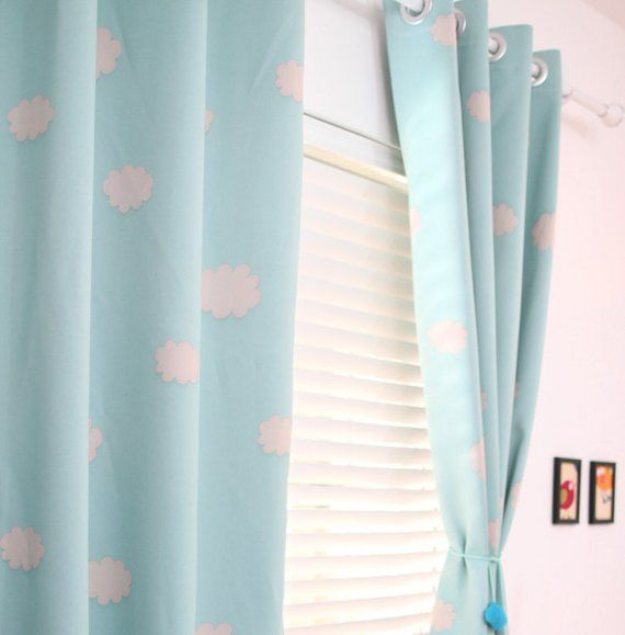 Two Grommet Top Blue Sky Clouds Curtains Baby Nursery