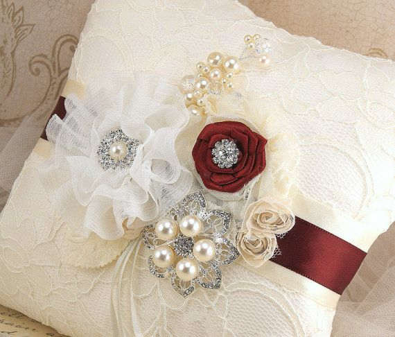 Ring Bearer Pillow Bridal Pillow Wedding Pillow in by SolBijou, $125.00
