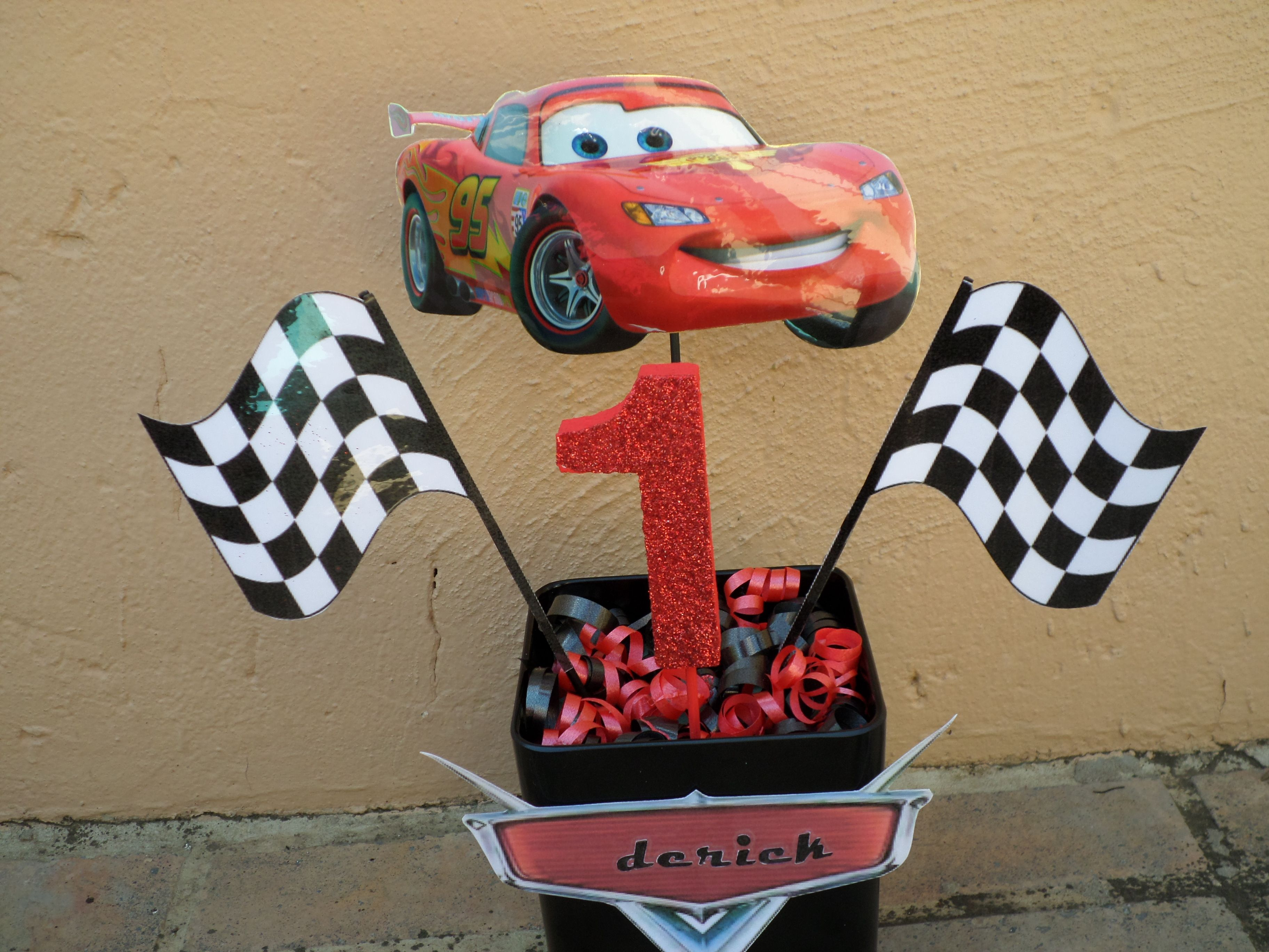 Our disney cars center piece we placed the birthday child