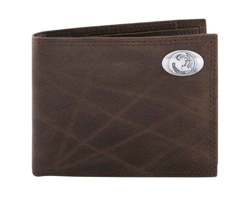 NCAA Florida State Seminoles Brown Wrinkle Leather Bifold Concho Wallet, One Size by ZEP-PRO. $34.99. Carry your Florida State Seminoles school and team spirit with you at all times. This brown genuine smooth wrinkle leather bifold passcase wallet is decorated with a silver gun metal concho and features bill and checkbook compartments, an ID window, six card slots, photo sleeve insert and spare key holder. Attractively boxed to make the perfect gift for the ultimate Seminole fan.