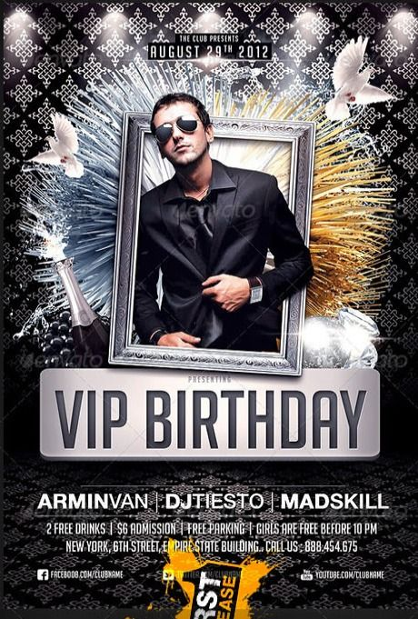 GraphicRiver VIP Birthday Party flyer Designs Pinterest - birthday flyer template