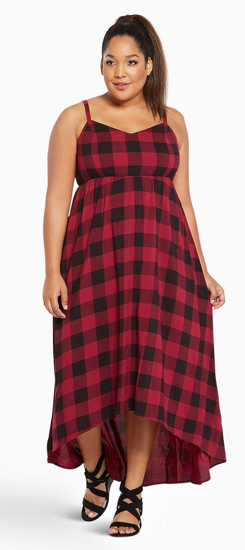 Plus Size Plaid Challis Hi-Lo Dress