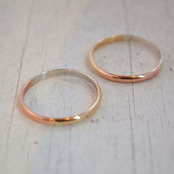 Set of 2 Aura Rings 3 Metals in One Ring Pink Gold Yellow Gold