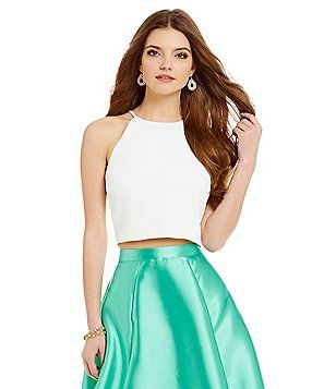 a2eb9a2cded Belle Badgley Mischka Nora High-Neck Crop Top