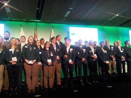 Members of the 2014 Australian Olympic and Paralympic Teams with Prime Minister Tony Abbott at the Welcome Home Parade at Museum of Contempo...