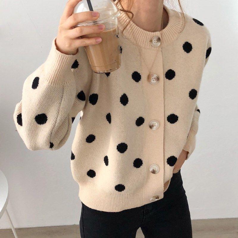 27.27US $ |Fall Korean Style O Neck Plus Size Sweaters Loose Polka Dot Knittd Cardigans Single Breasted Lantern Sleeve Sweaters|Cardigans|   - AliExpress