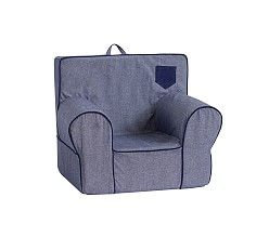 Chambray With Corduroy Pocket Anywhere Chair Pottery Barn Kids
