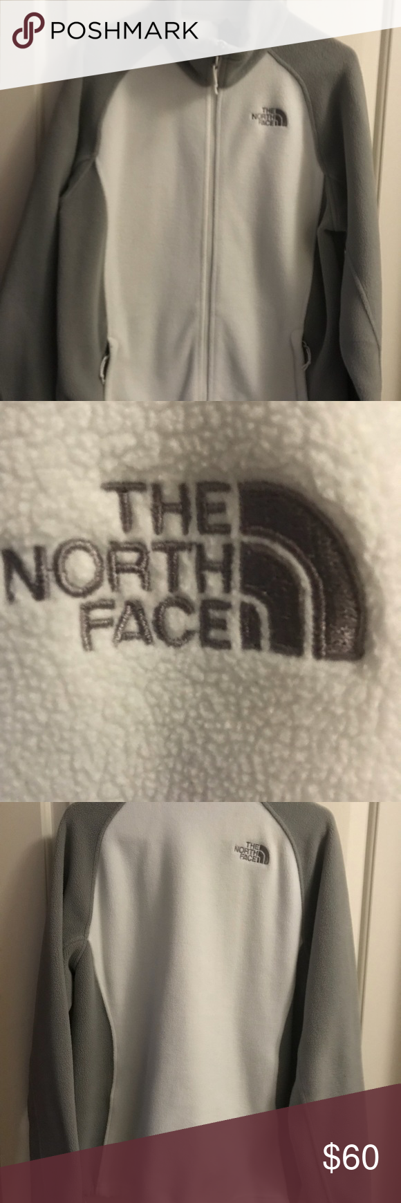 Northface womenus fleece lg white north face jacket face and gray