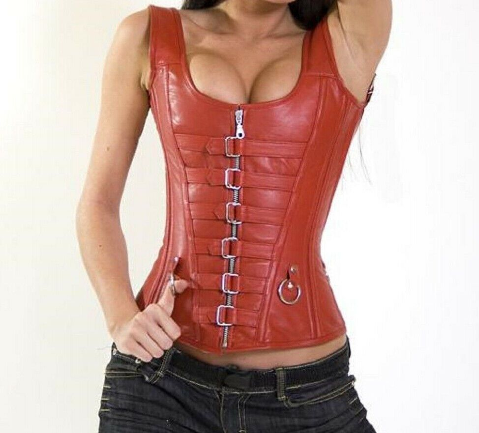 Red Real Leather Real Steel Bones Lace up Body Shaper Under bust Corset 2XS~7XL