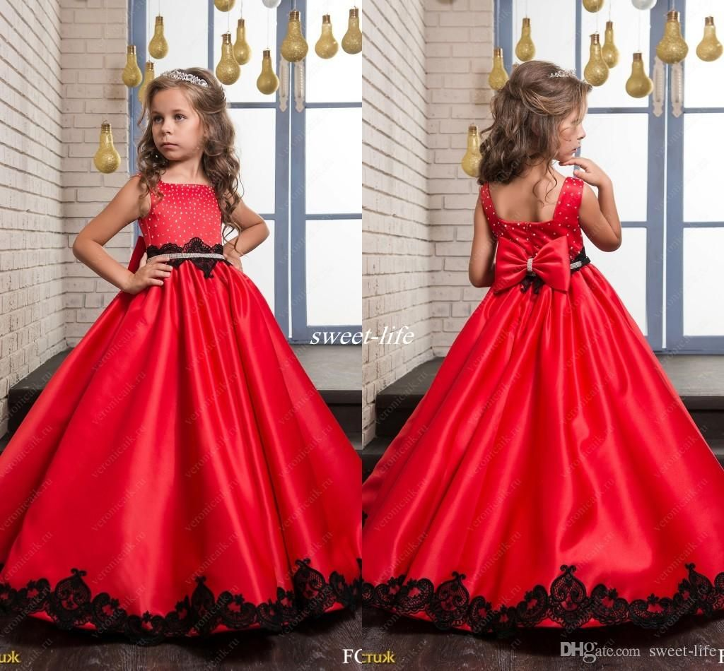 Black and Red Wedding Flower Girl Dresses 2017 Princess Vintage Lace Beaded B
