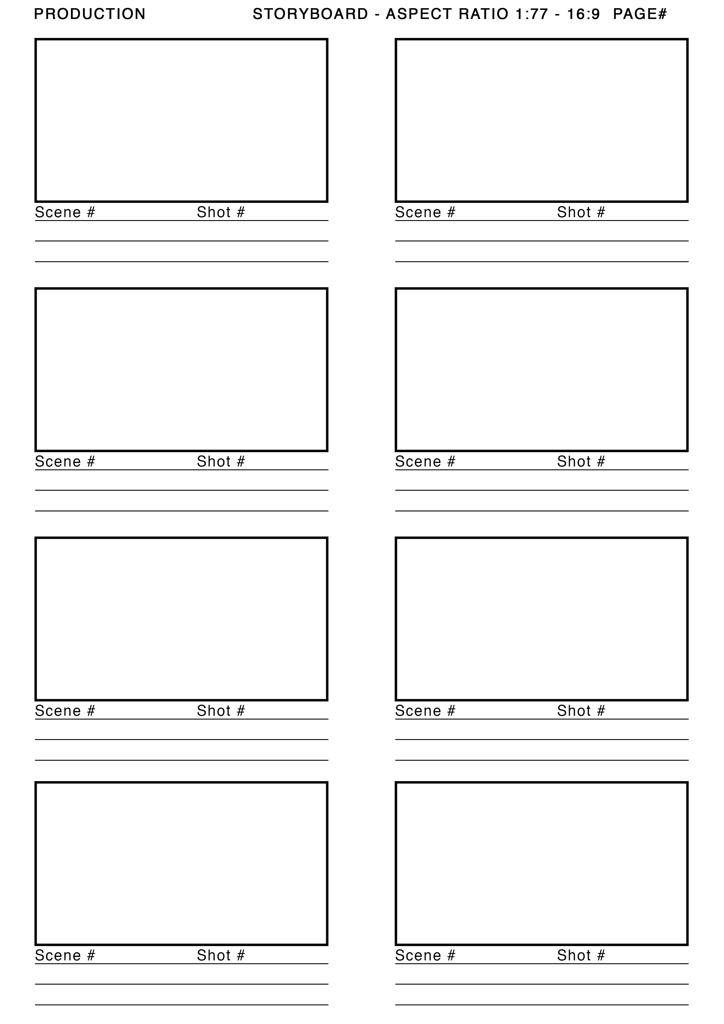 Storyboard Template  Motion    Storyboard And Template