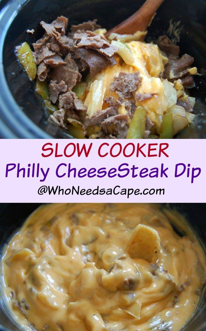 Slow Cooker Philly CheeseSteak Dip is SO good! Perfect for Football, Tailgating… #tailgatefood