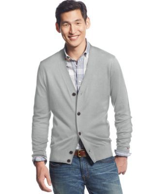 TOMMY HILFIGER Tommy Hilfiger Signature Solid Cardigan. #tommyhilfiger #cloth # sweaters
