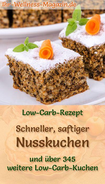 Schneller, saftiger Low Carb Nusskuchen - Rezept ohne Zucker #süßesbacken