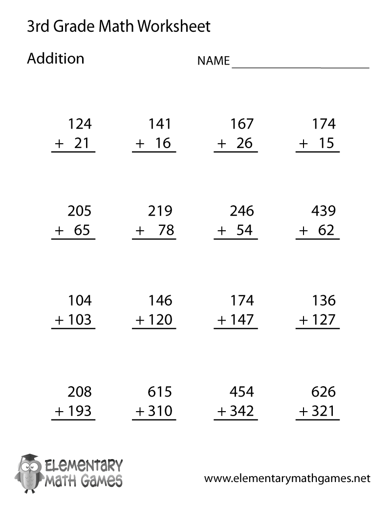 Worksheets 3rd Grade Math Worksheet learn and practice addition with this printable 3rd grade elementary math worksheet