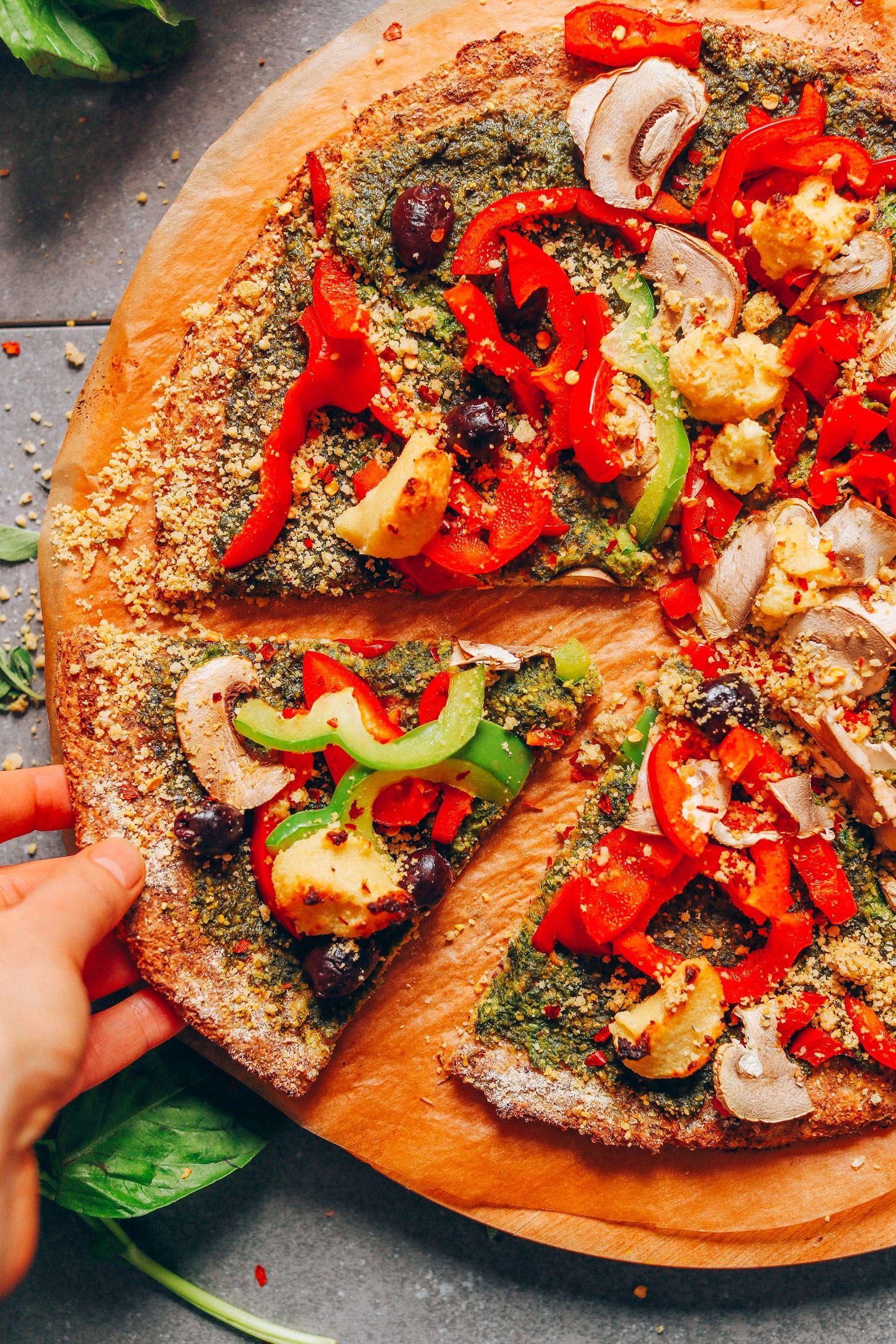 Vegan Cauliflower Pizza Crust Recipe Vegan Recipes Vegan
