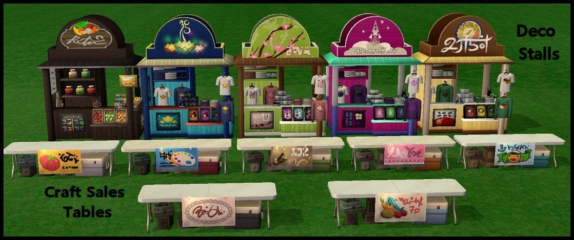 Sims4 Sims2 City Living Festival Stalls And Tables The Stalls Are Just For Deco They Come In 2 Parts The Stalls City Living Holiday Decor The Sims Original