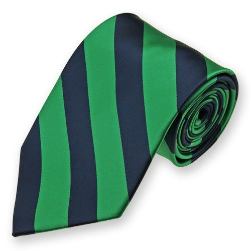 Kelly Green and Navy Blue Woven Striped Tie | wedding ...