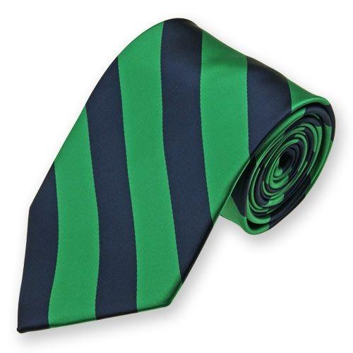 Slim necktie - Green plain weave, ribbed stripes in two blues Notch