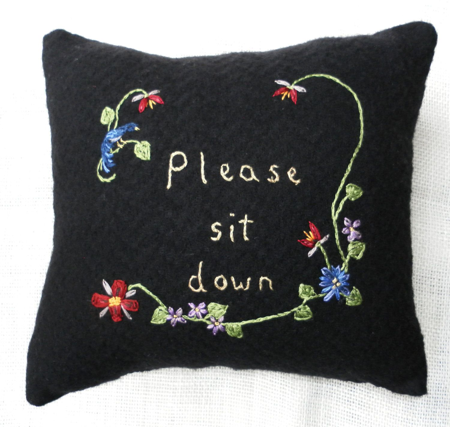 #Pillow, Folk art hand embroidered wool. $15 by Banner and Sail #Etsy #decor #home