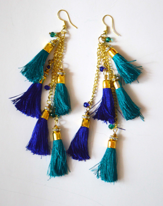 Turquoise Blue Tassel earrings,festival jewelry-fringe earrings ...