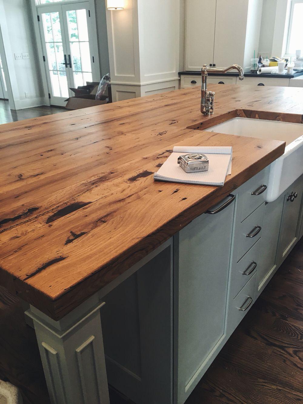 Reclaimed oak kitchen countertop // Built by Woodstock Vintage Lumber in Nashville, TN.