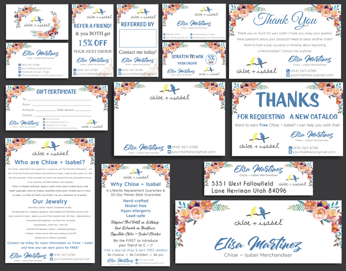 Chloe And Isabel Marketing Kit Chloe And Isabel Business Cards Personalized Chloe And Isabel Cards Custom Chloe And Isabel Cards Cli06 Thank You Labels Personal Cards Thank You Note Cards
