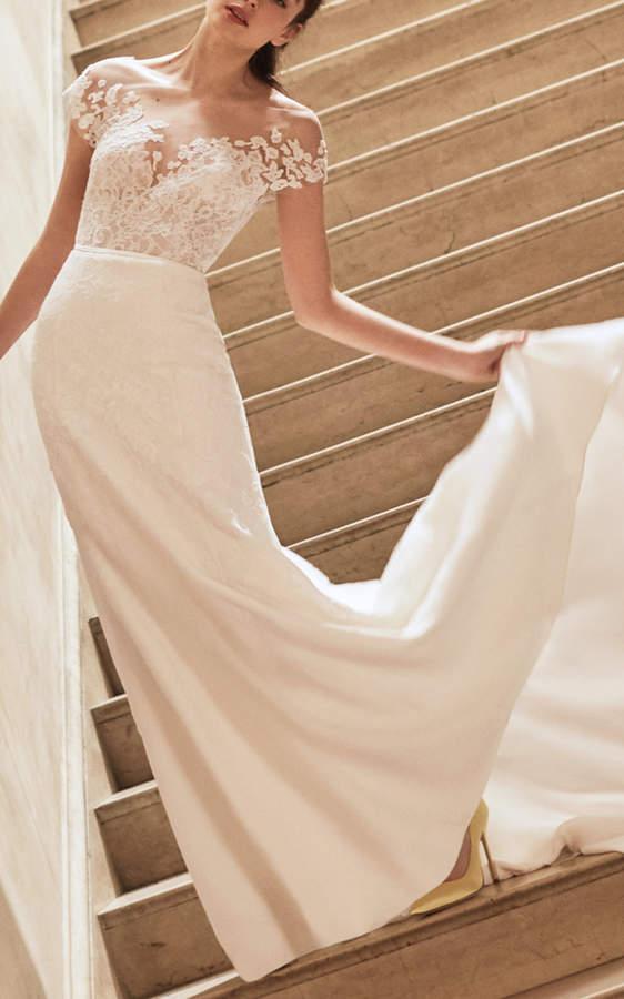 This Carolina Herrera Bridal Hannah Georgette Bridal Gown Features An Illusion Neckline Expensive Wedding Dress Carolina Herrera Bridal Herrera Wedding Dress