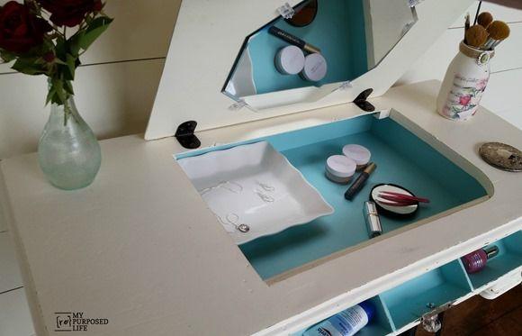 Repurposed Singer sewing machine into makeup vanity