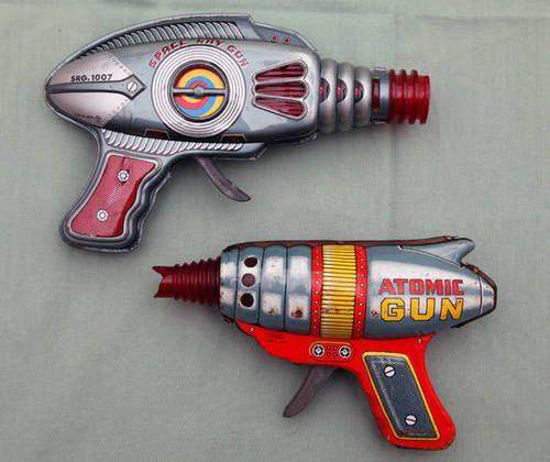 2 Space Ray Gun 10007 Atomic Raygun Japan Yone Haji 1960's Tin Friction