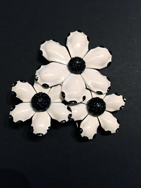 Black And White Flower Brooch Hipster Festival Large Flower