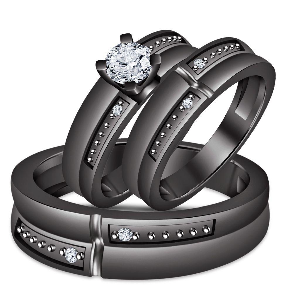 Men S Women S Diamond Engagement Ring Trio Set Black Gold Plated Pure 925 Silver Wedding Ring Trio Wedding Ring Trio Sets Black Gold Wedding