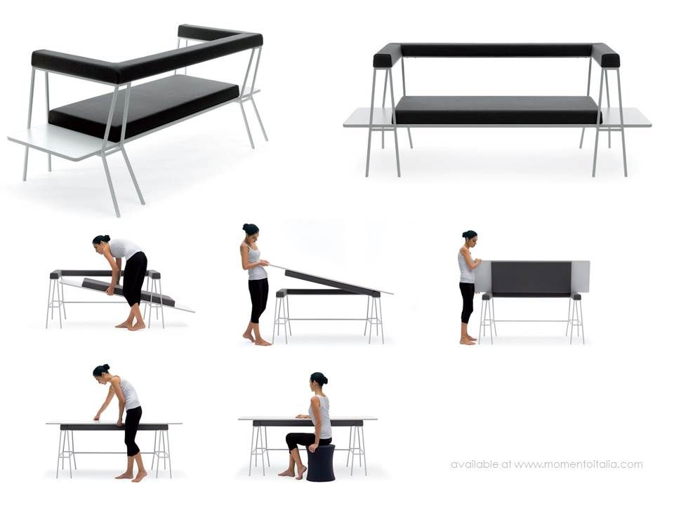 High Quality A Love Seat That Turns Into A Desk And Arm Chair That Converts Into A Bed Photo