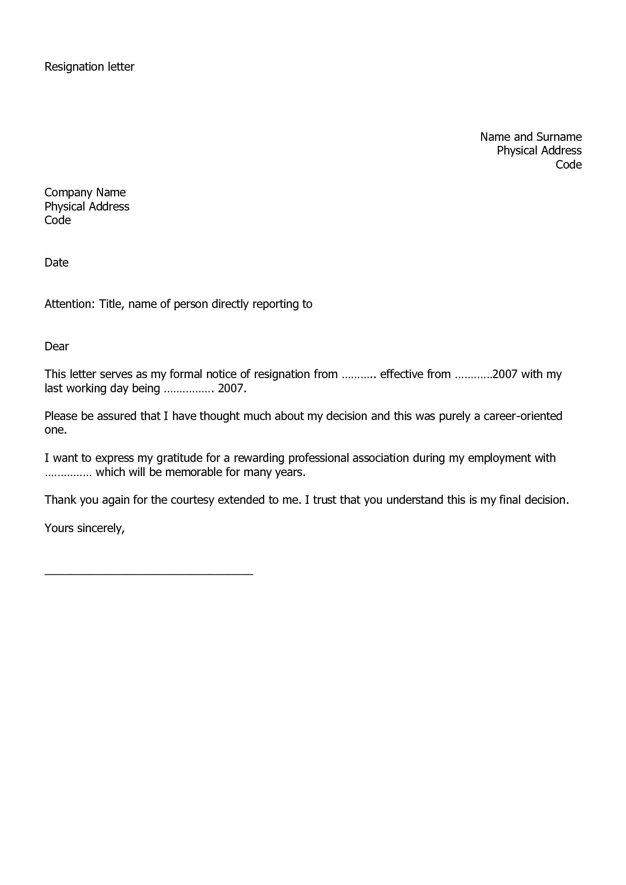 Resignation Letter Examples  Masks    Resignation