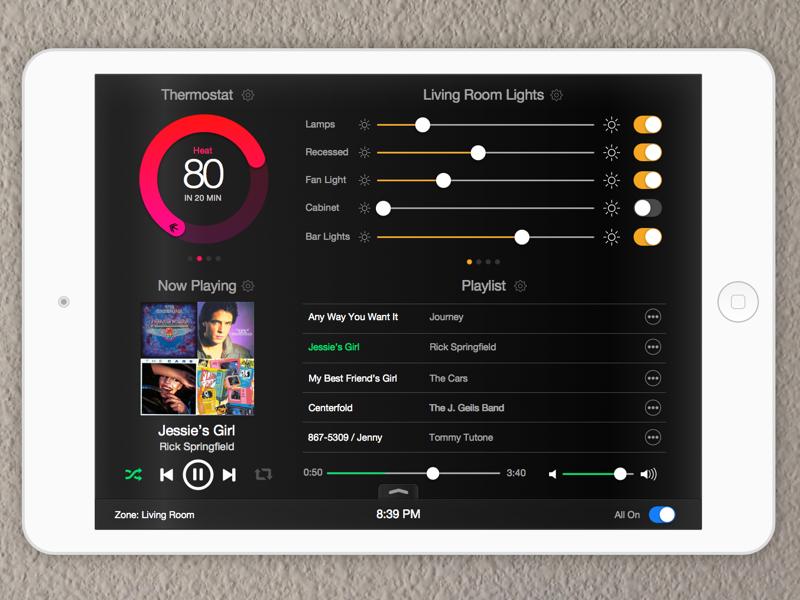 iPad Home Automation app by Kyle Ledbetter