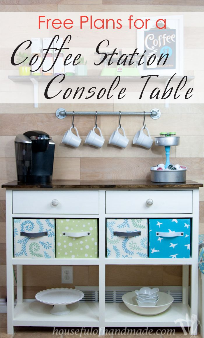 Free Coffee Station Console Plans | Wood Crafts | Pinterest