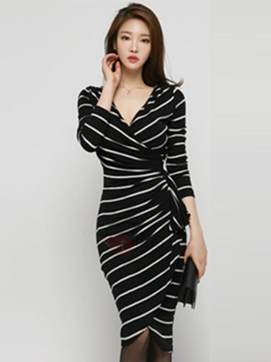 Asymmetric stripe long sleeve belt bodycon dress bodycon dress