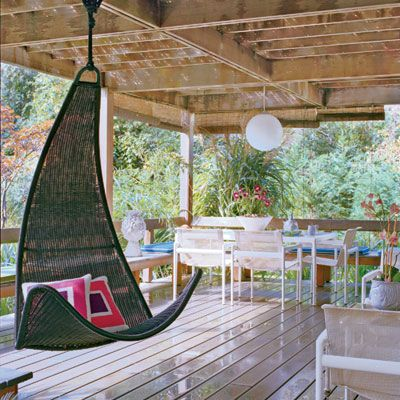 We love this contemporary hanging swing!