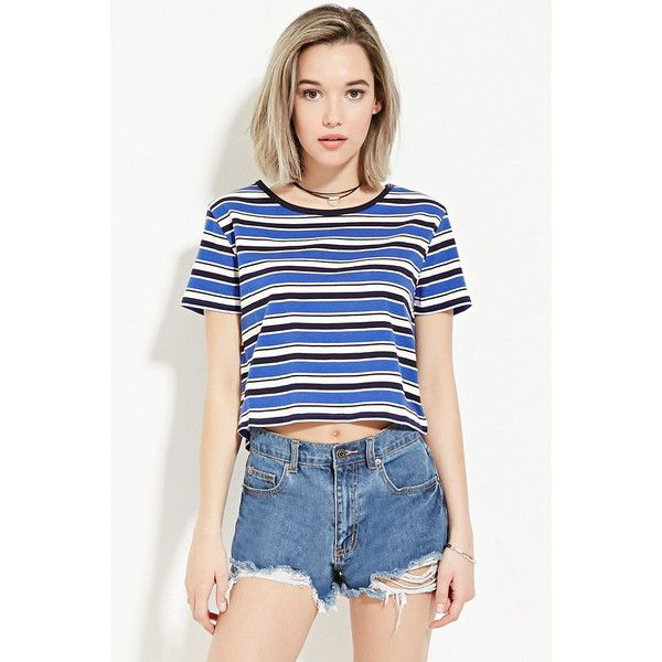 0c04f006e9 Forever 21 Women's Classic Striped Tee ($13) ❤ liked on Polyvore featuring  tops, t-shirts, white tee, white stripes t shirt, white top, stripe top and  ...