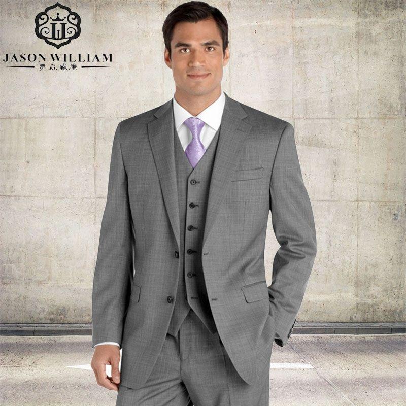 LN014 2017 Custom Made Groom Tuxedo silver Suit peaked Lapel Best ...