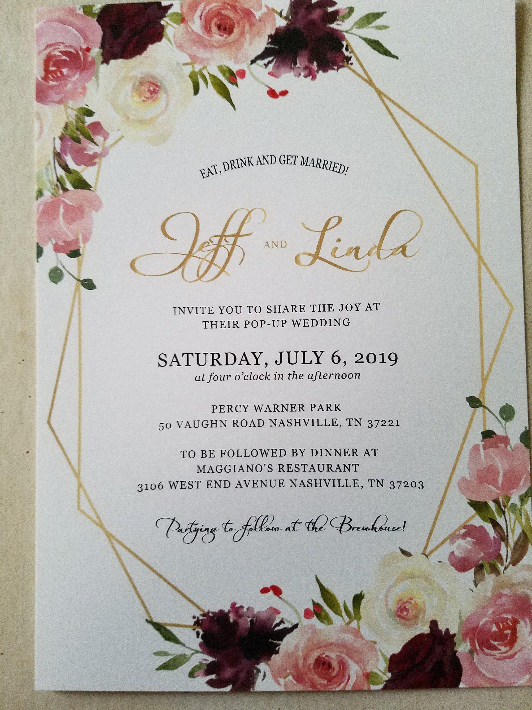 Dusty Rose Wedding Invitation Dusty Rose Burgundy Cream Floral Gold Wedding Invitat Gold Wedding Invitations Invitation Dusty Rose Printing Wedding Invitations