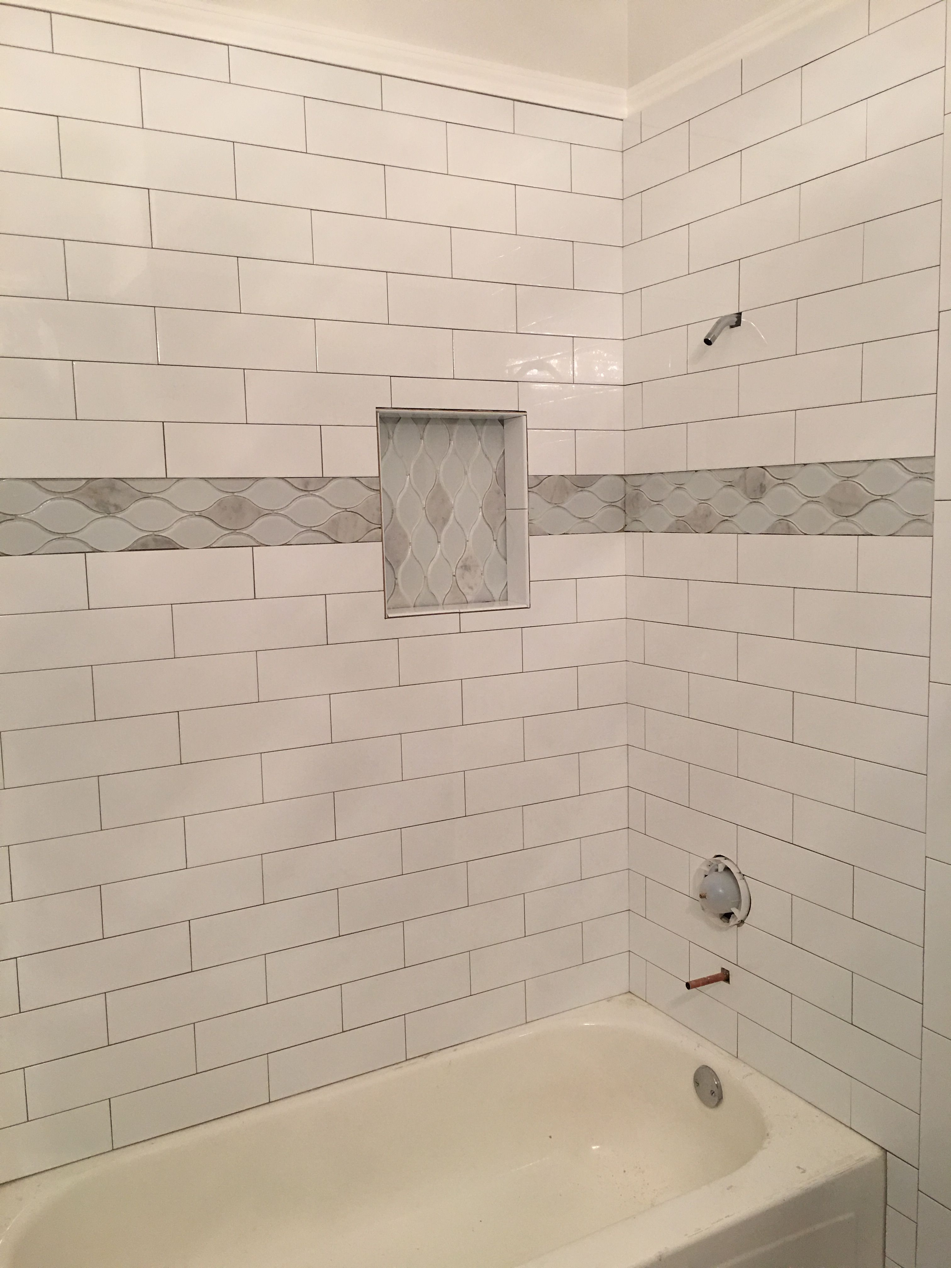 4x16 Subway Tile White Tile Shower White Subway Tile Shower Subway Tile Bathroom Shower